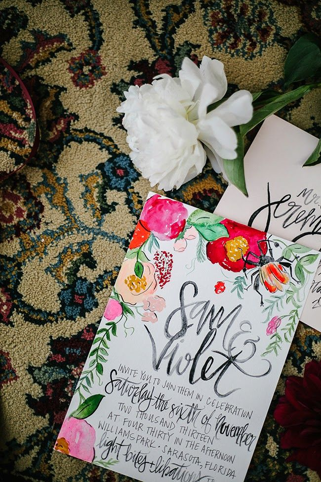 Bright, Bohemian Wedding // Watercolor Invitations and photography by Shannon Kirsten