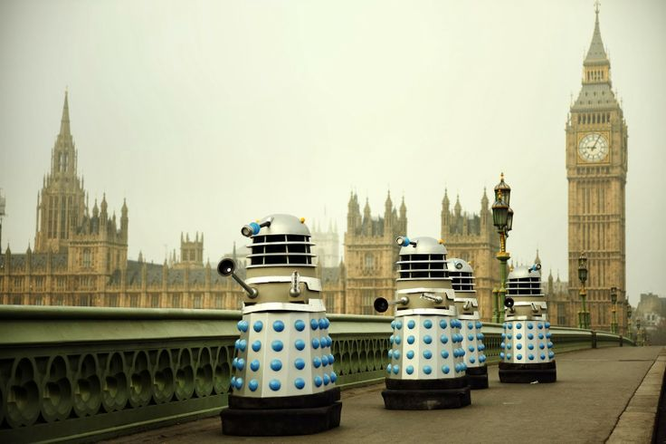 """The Dalek Invasion of Earth recreated for Mark Gatiss's """"An Adventure in Space and Time."""" BBC promo photo 