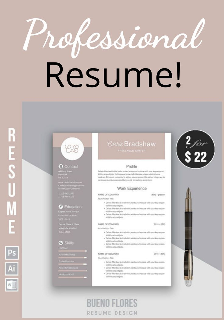 "Resume Template ""Carrie Bradshaw"" + Cover letter + Icons /PC & MAC / Instant Download / Creative / Elegant / Feminine / Free login organizer / #resume / #cv / #ad"
