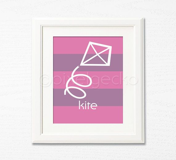 Kite  8x10 Art Print  Pink Purple Kids Room Decor by pixelgecko, $14.90