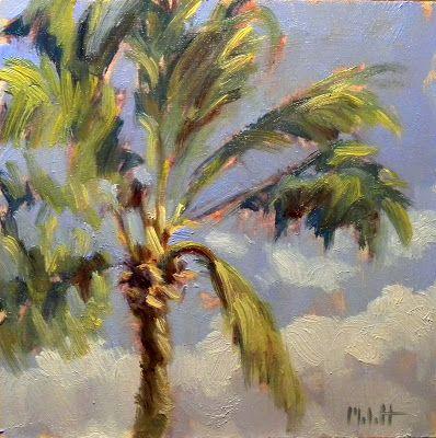 Heidi Malott Original Paintings: Palm Tree Painting Contemporary Impressionism Heid...