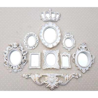 Kit 9 Molduras Ouro Provençal Já Com Espelhos Decorativos - R$ 100,00 no MercadoLivre
