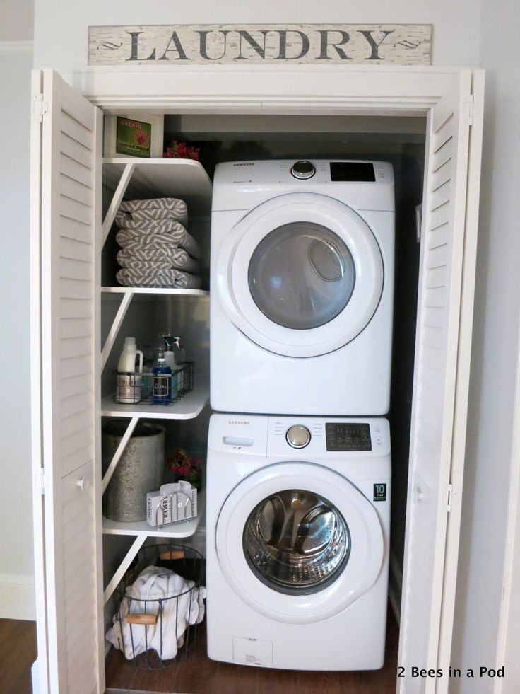 Interior, Ery Amusing And Exciting Interior Laundry Room With Two White Washers Stacked And Storage Rack Clothing Also Soap In Washing Machine Side And Two Doors: Ideas for Laundry Room Decoration Pictures