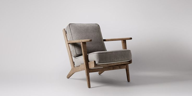 Swoon Editions Armchair, retro style in Stonewashed Grey - £369