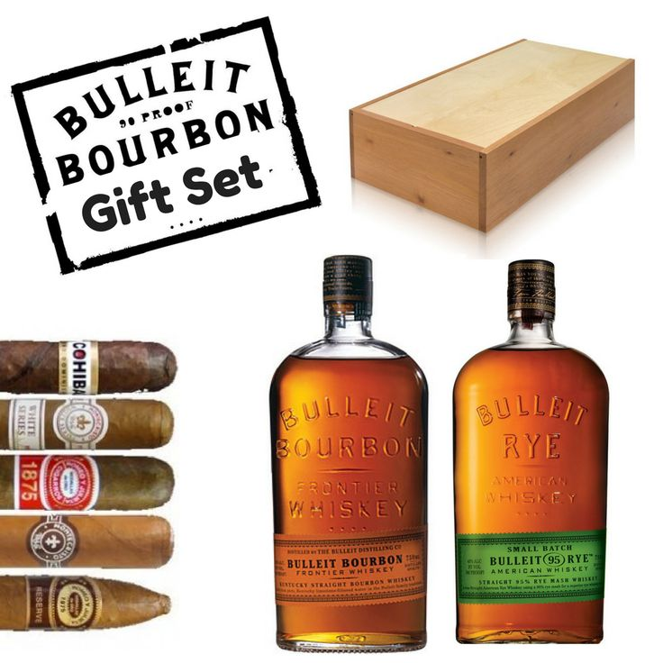 Bulleit Bourbon & Rye Whiskey Gift Set with Cigars