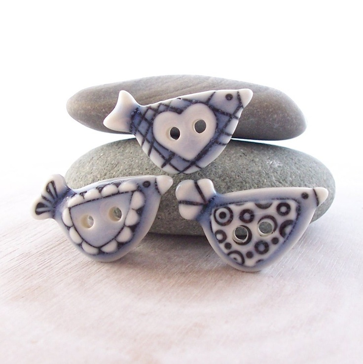 Bird Buttons Pale Blue Glazed Handmade by RuthRobinsonCeramics, $14.50