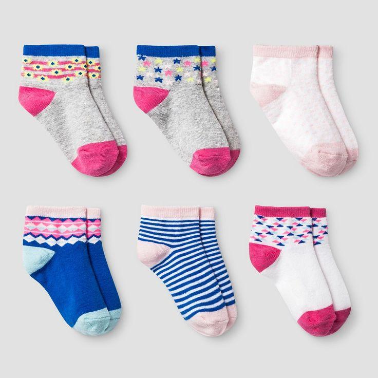 Girls' 6pk Low Cut Aztec Socks Cat & Jack - True White