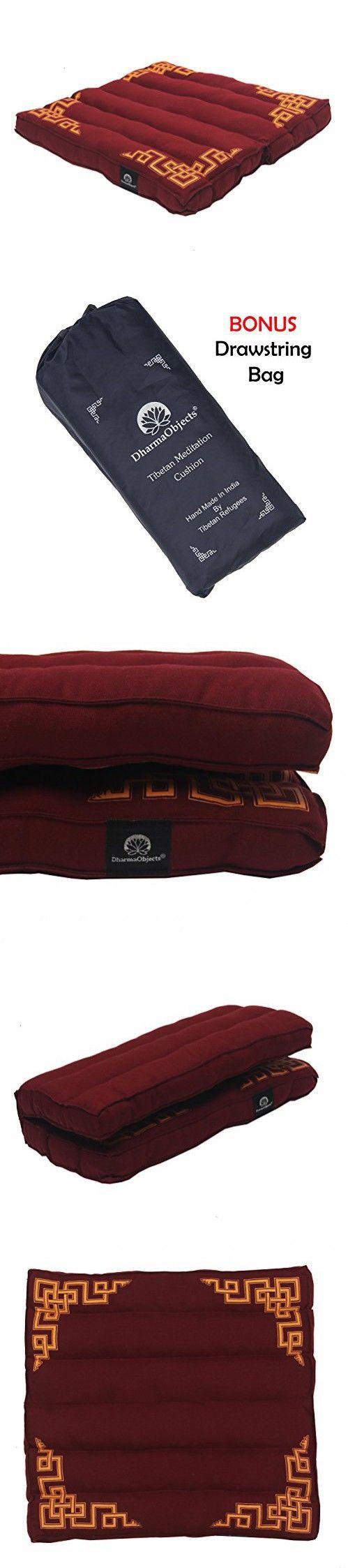 "DharmaObjects Traditional Tibetan Yoga Meditation Accessory Cotton Mat Cushion (Maroon, 15"" X 14"" X 1.5"")"