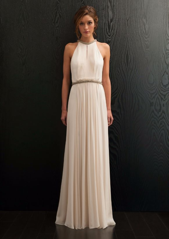 Amanda Wakely - Adrianna.  Delicate georgette pleats into a chain detail halterneck with matching belt with a flowing full soft silk georgette skirt.