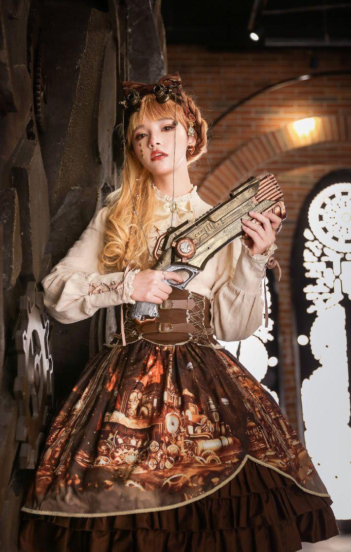 9786b17b0839 Avenue Denfer -Steam Castle- Steampunk Lolita High Waist Skirt in ...