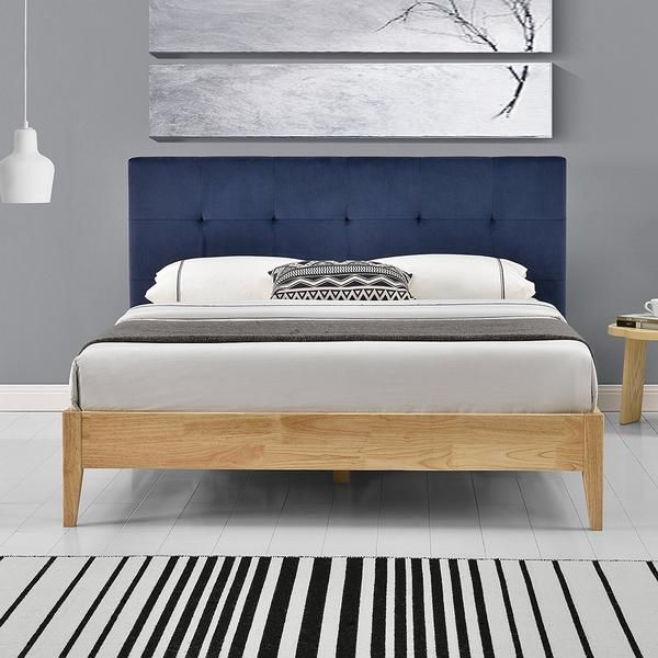 Wooden Bed Frame Navy Fabric Headboard Double King Bed Frame