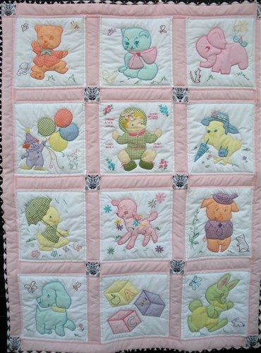 Vintage Baby Quilt - Baby Girl or Baby Boy | onebeelane - Quilts on ArtFire