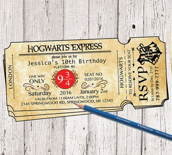 Harry Potter Hogwarts Express Ticket Birthday by quotesartstudios