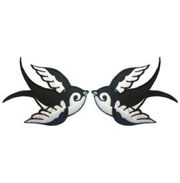 Pair Rockabilly Tattoo Swallow Patches