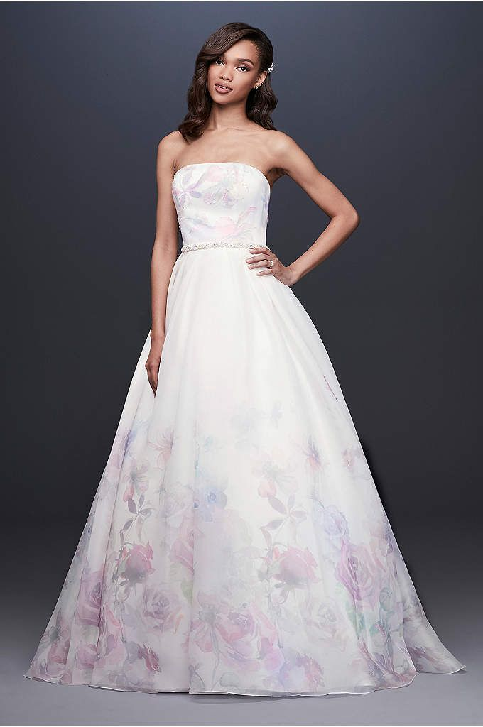 Floral Watercolor Organza Ball Gown Wedding Dress Ball Gown