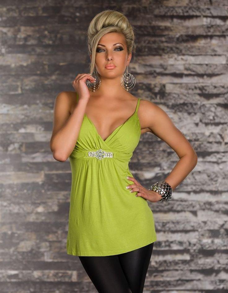 top sexy vert debardeur a bretelles avec strass dos nu haut tee shirt femme top pinterest. Black Bedroom Furniture Sets. Home Design Ideas
