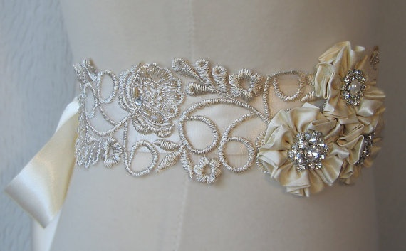 Pale Champagne Lace Bridal Sash, Silk Flowers and Rhinestone Wedding Belt, Gold Bridal Belt - FALON
