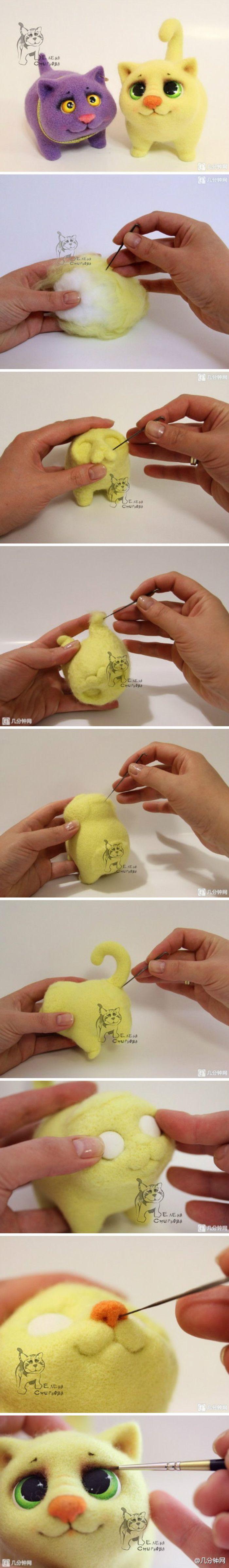 羊毛毡戳萌猫玩偶,小眼神太萌了http://t.cn/zl87eYp 几分钟网有很多羊毛毡教程:http://t.cn/zl87eY0