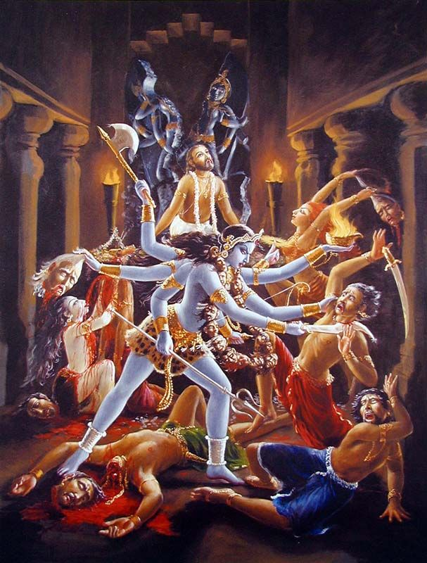 Goddess Kali kills the dacoits chopping off their heads and decapitating them and protects Jada-Bharata - Krishna's pure devotee.