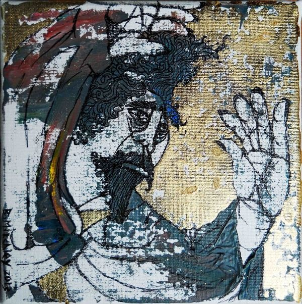 'Master T'  Mixed Medium on canvas  15cm wide x 15cm high x 2cm deep #Art #Painting #Acrylic #Fine_Arts #Contemporary #Benjamin_Mitchley #Figurative #South_Africa #Mixed_Media