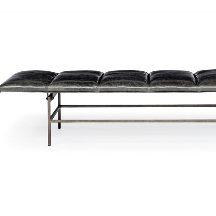 Bernhardt Interiors. Ardmore Bench in leather, blackened stainless steel - detail