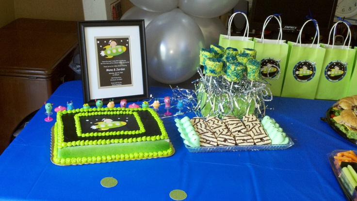 Sweets Table- Invite, Cake and Gift Bags all have the same logo