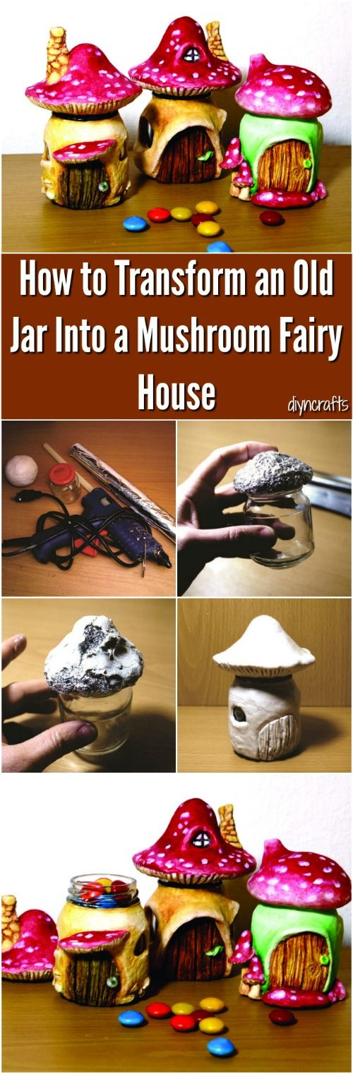 How to Transform an Old Jar Into a Mushroom Fairy House {Brilliant upcycling project} via @vanessacrafting