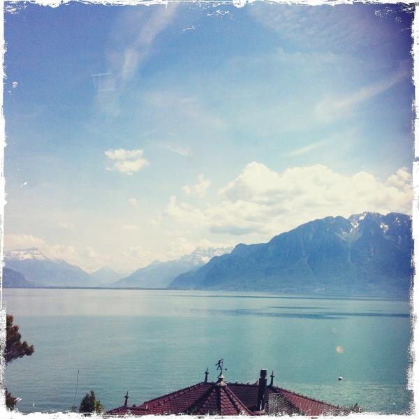 View of Alps / Lake Geneva, Switzerland