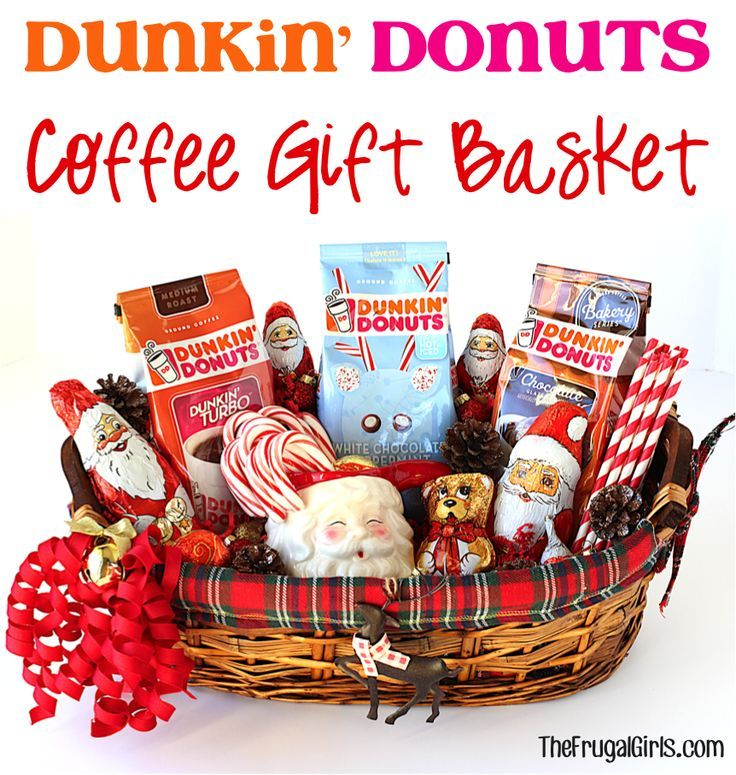 DIY Dunkin' Donuts Coffee Gift Basket!  On the hunt for the perfect gift for the  coffee lovers on your list?  Check out these easy tips for making a crave-worthy gift basket!  Your friends, family members, neighbors, and child's teacher will be all smiles with this kind of surprise!! #DunkinToTheRescue #ad | TheFrugalGirls.com