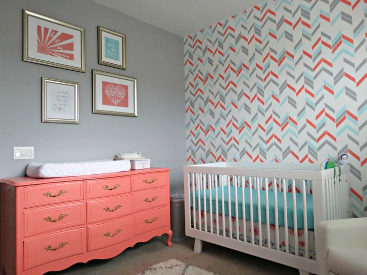 Coral, aqua and gray is a winning color combo! Can't get enough of the coral dresser + herringbone accent wall.: Projects Nurseries, Colors Schemes, Herringbone Accent, Baby Rooms, Coral Aqua, Girls Nurseries, Accent Walls, Nurseries Ideas, Gray Nurseries