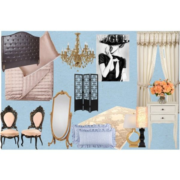 Blair Waldorf Inspired Bedroom by janet-mourgan on Polyvore featuring  interior, interiors, interior