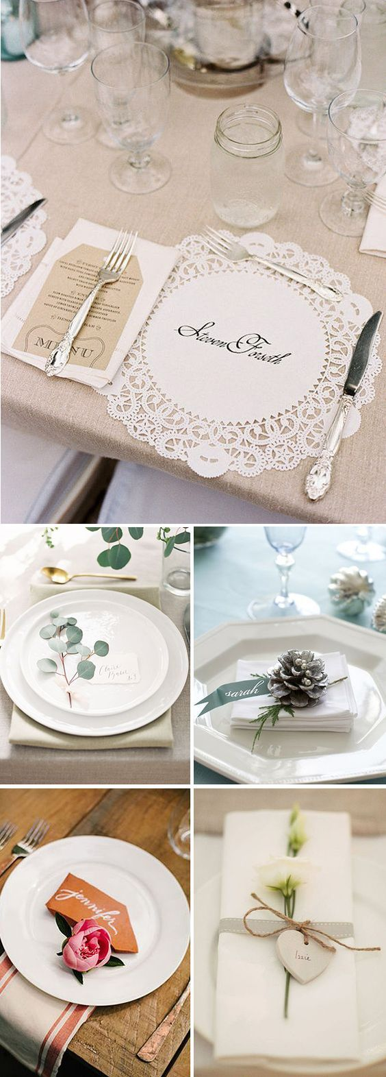 Ideas para decorar los platos de los invitados en las bodas