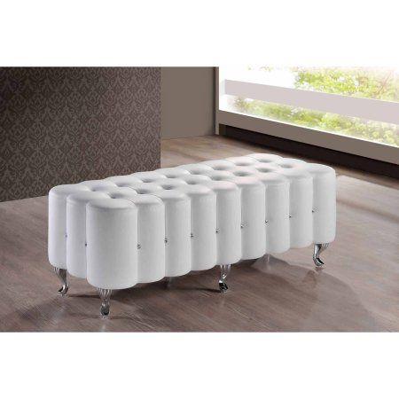 Elegant Baxton Studio Constellations White Modern Bedroom Bench Part 8