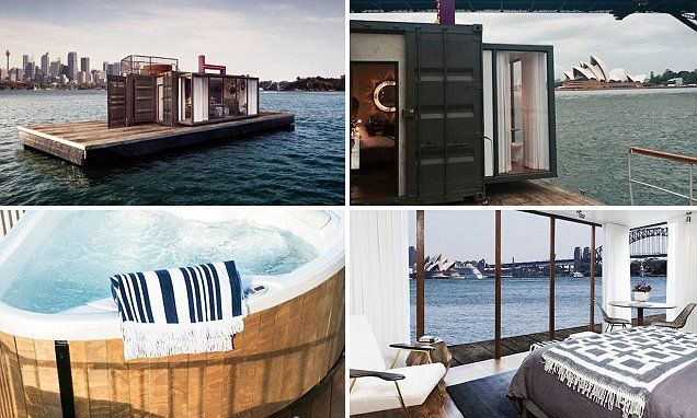 A shipping container converted into five-star accommodation has become Australia's first floating hotel - and it has docked in Sydney harbour.