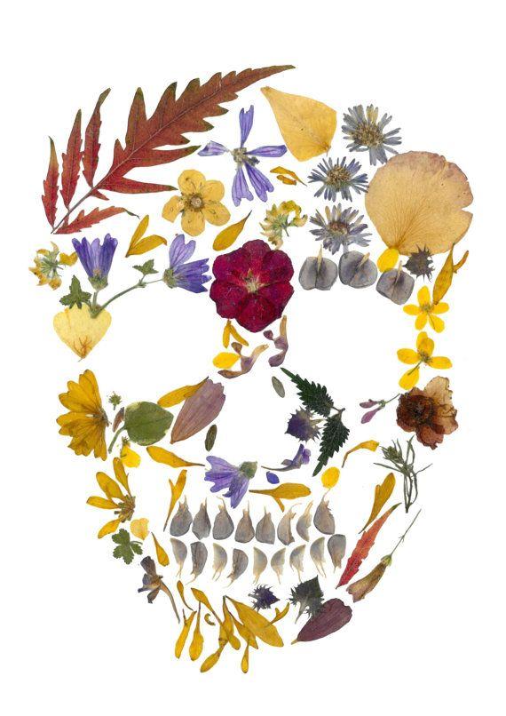 Pressed Flowers Skull Print. Skull art by PressedFlowersGarden