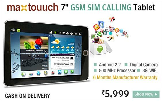 The brand new Maxtouuch 7 inch tablet has 4GB Memory, 3G Support via external dongle. It has Wi-fi, Google Android OS. It is a 7 inch wide genius that is portable and easy to carry. With the performance of a full size laptop, this mini-mean-machine has ARM Processor, 256 MB RAM with 800 MHz high processing power. It conducts voice calls just like on a mobile phone with the help of 2G GSM SIM card (SIM Card not included). It's a great tool for techno geeks.