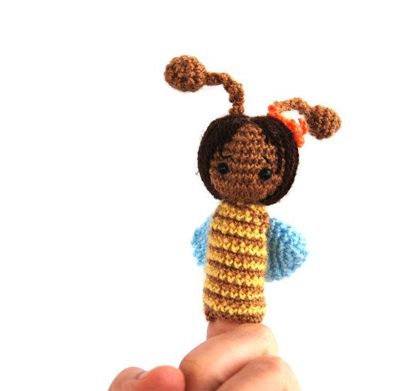 $21.64 #soft #BEE #finger #puppet, #crochet #bee #puppet, #cute #soft #sculptured #animal, #sweet #bee #puppet, #waldorf #puppet, #creative #play, #story #time #doll