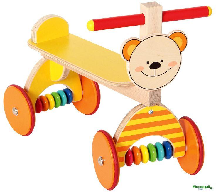 Triciclo in Legno Cavalcabile ORSETTO cm 40x23x34 per bambini. Primi Passi. Età 12 Mesi HessLe prime esperienze a