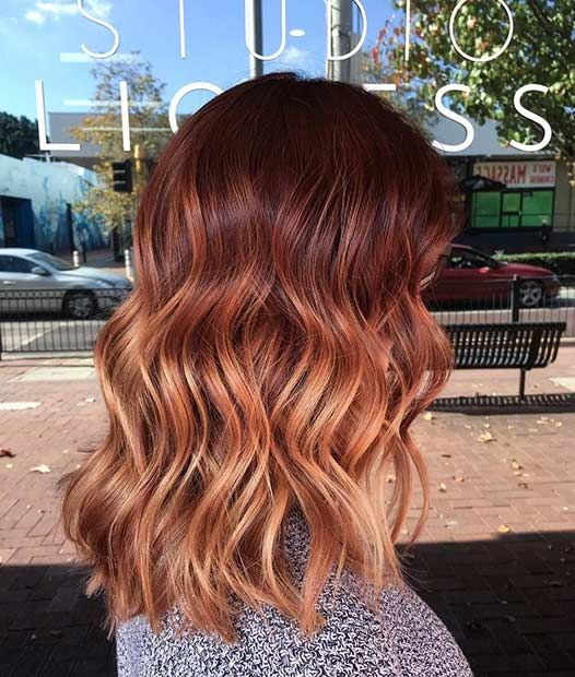 Copper Balayage Long Bob (Lob)