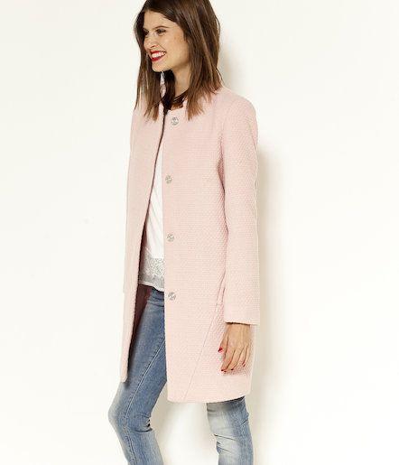 Długi płaszcz z wełnianej tkaniny