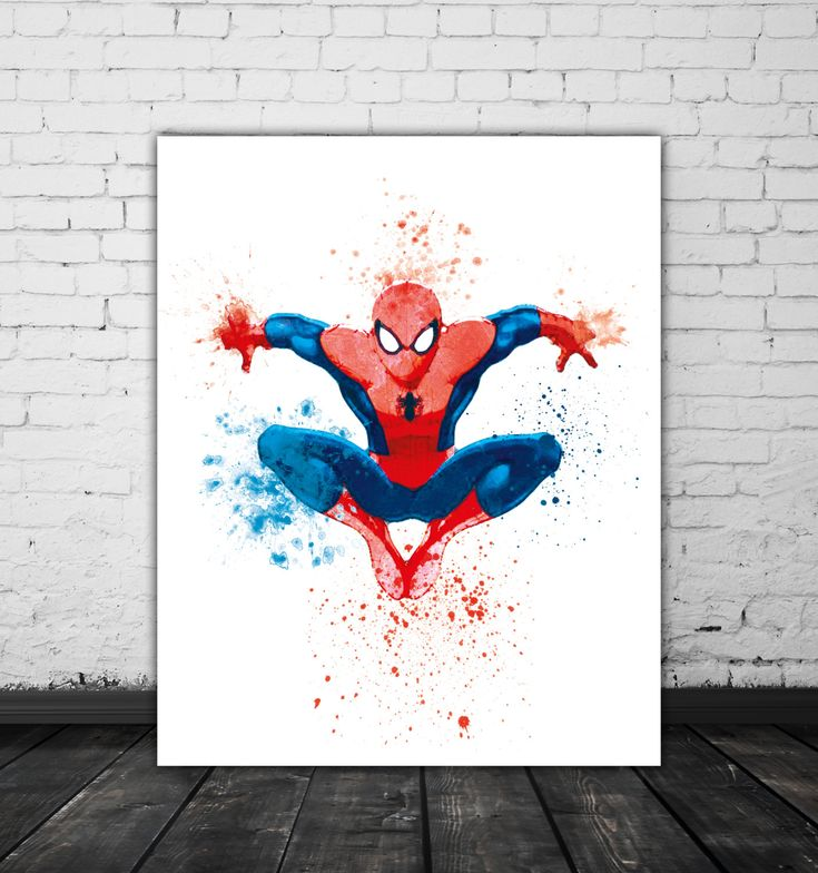 Amazing Spiderman Poster, Superhero Nursery Watercolor Splash, Marvel Art, Spider Man Super Hero Art, Comic Book Decor, Marvel Poster by PRINTANDPROUD on Etsy