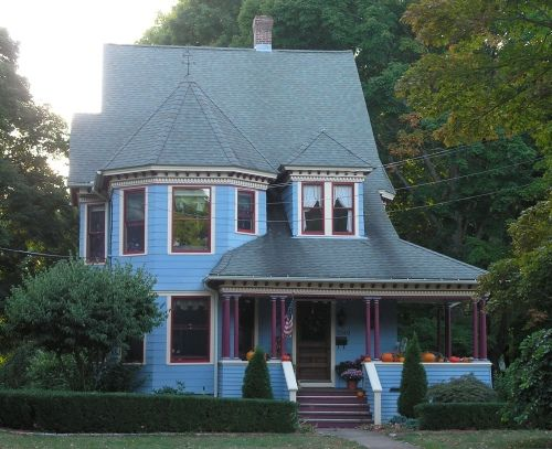 The Douglas House, on Main Street in Glastonbury, Connecticut is a Queen Anne structure with a steeply pitched roof. The house was built in 1894 and is now a duplex.douglas-house.jpg