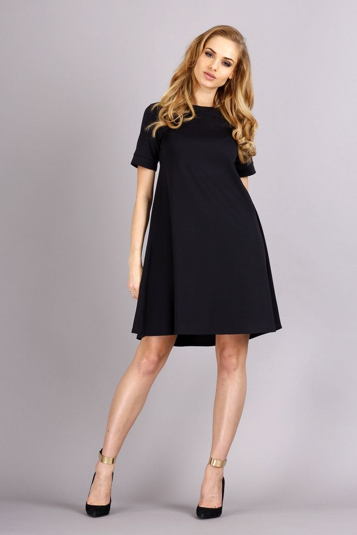 Black Shirt Dress with Bateau Neckline and Short Sleeves