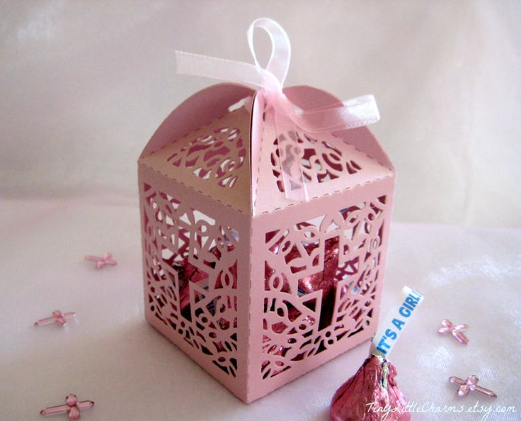 Holy Cross Pearled Party Favor Boxes for by TinyLittleCharms, $9.00