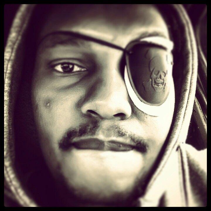 """My eye cyst got me rocking the eye patch on my """"Jack Sparrow"""" steez lol."""