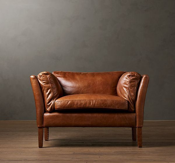 "Sorensen leather-armchair he frame is made of kiln-dried hardwood and steel-spring suspension for a comfortable experience. It measures 42""W x 33""D x27""H, is all dressed in leather, even the legs, underneath, everything and it feels fantastic. What a great job did the Danish designers with the clean simple lines. Oh, I almost forgot; this Sorensen Chair costs around $ 1500."