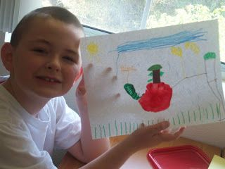 Wormy Apple Art Project - Enchanted Homeschooling Mom   Check out www.StevensFamilyHomeschool.com as well!