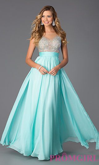 Finally found my ball gown.....in blue!! Floor Length Embellished Chiffon Prom Dress at PromGirl.com