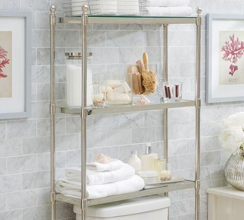 Bath metal over the toilet etagere pottery barn over for Small bathroom etagere