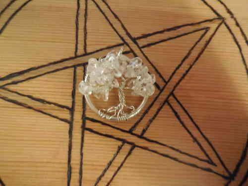 Levensboom hangertje met Bergkristallen blaadjes - Secrets of Gaia